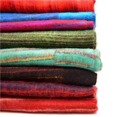 Yak Wool Stripe Shawl, Colours Black, Green, Blue, Red, Pink, Purple