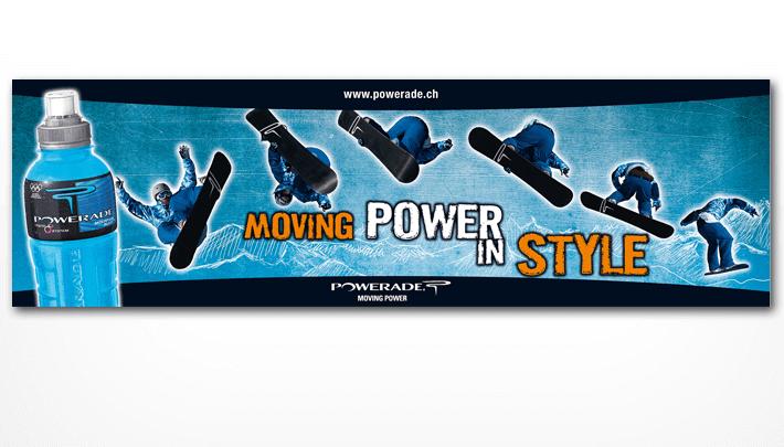 Banners; z.B. Powerade Banner für Skiort Arosa
