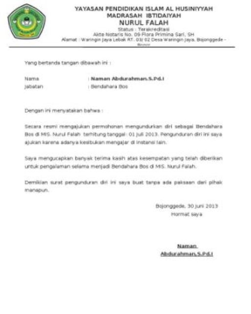 Contoh Surat Pengunduran Diri Pegawai Honorer Doc