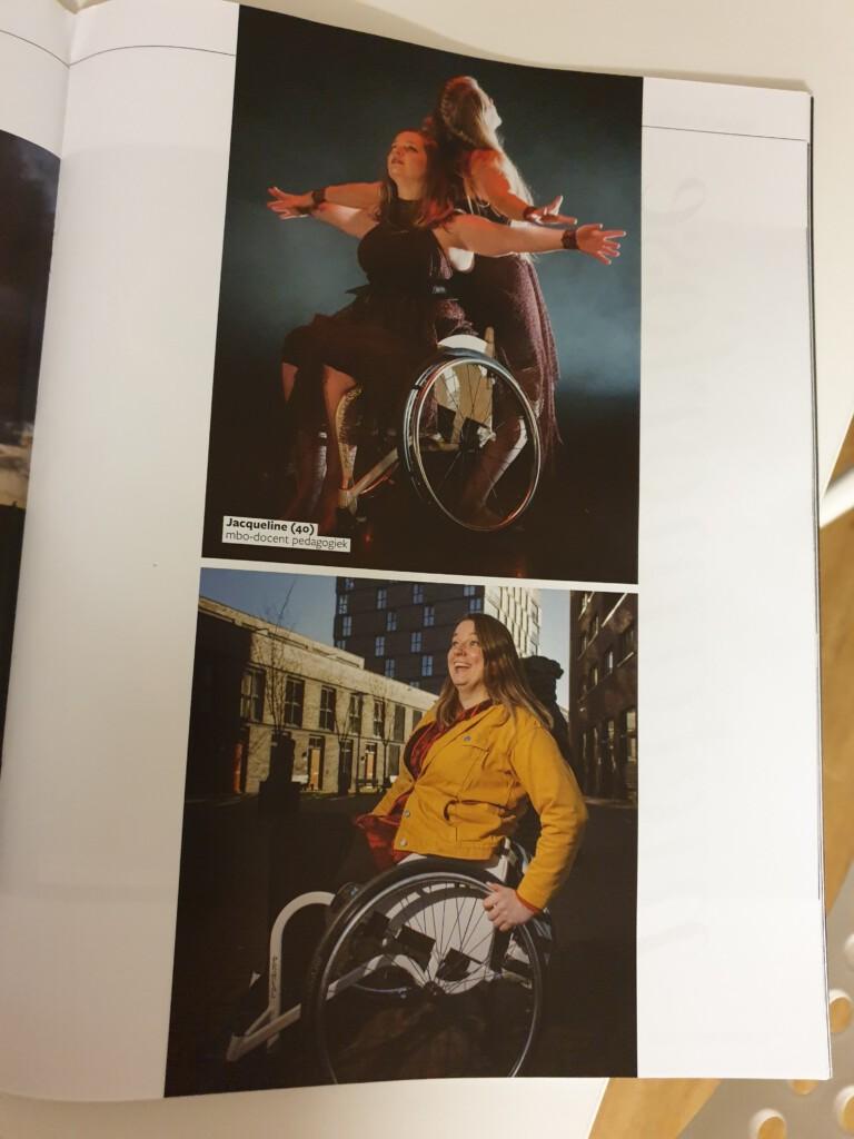 bovenste foto met twee dansers, waarvan één in een rolstoel. Onderste foto met de rolstoeldanser in dagelijkse kleding