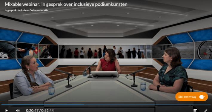 screenshot van een webinar met 3 vrouwelijke sprekers in beeld