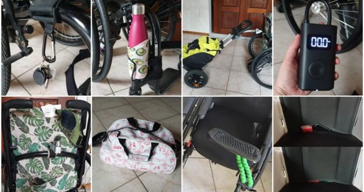 verschillende toevoegingen aan een rolstoel, zoals een musketonhaak, bidonhouder, boodschappentrolley, toetsenbord.