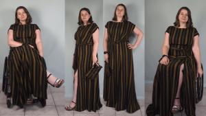 Jacqueline in een lange zwart/goudgestreepte jurk. Op de buitenste twee foto's zittend in de rolstoel, op de middelste twee foto's staand.