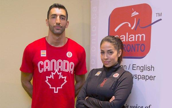 (راست) نسیم وارسته سرمربی تیم کاراته کانادا  و سارمن سینانی عضو تیم کاراته زیر 84 کیلو در دفتر سلام تورنتو