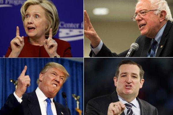 سناتور برنی ساندرز (بالا راست) و سناتور هیلاری کلینتون دو کاندیدای اصلی دمکراتها هستند  سناتور تد کروز (پایین راست) و دانلد ترامپ ِمیلیاردر دو کاندیدای اصلی جمهوریخواهان هستند
