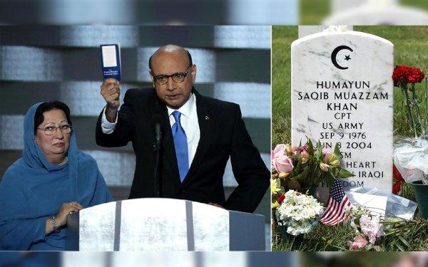 خیضر خان پدر همایون خان فرمانده آمریکایی مسلمان کشته شده در جنگ عراق در همایش حزب دمکرات با نشان دادن کتابچهِ قانونِ اساسی آمریکا به ترامپ، او را به تبعیض گرایی و ناآگاهی متهم کرد.