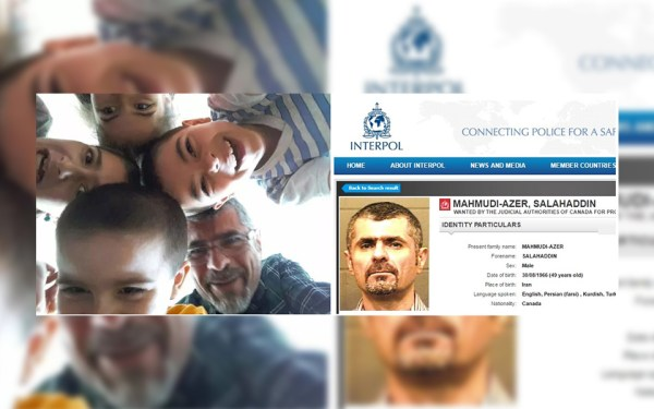 سایت پلیس بین الملل (اینترپل)، «صلاح الدین محمودی ـ آذر»  را در لیست اشخاصی تحت تعقیب  Wanted  خود قرار داده است.  (چپ) عکس «محمودی ـ آذر» در کنار چهار فرزندش در فیس بوک گذاشته شده است.