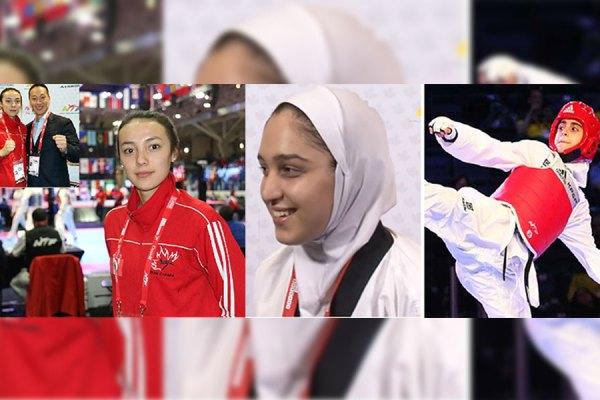 دختران طلایی تکواندوکار ایران و کانادا  مبینا نژاد (وزن زیر 48 کیلوگرم)، زهرا پوراسماعیل (وزن 68 کیلوگرم) و اسکایلر پارک (وزن 59 کیلوگرم) هر سه در مسابقات جهانی تکواندو جوانان  در هفته گذشته مدال طلا کسب کردند.  (پدر اسکایلر پارک که مربی او نیز است در گوشه عکس دیده می شود.)