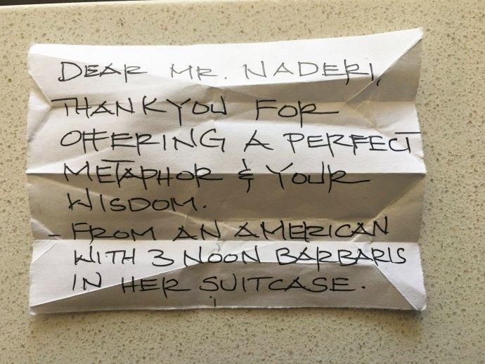 دکتر فیروز نادری: امروز در هواپیما خانمی که اصلن نمی شناختم به نزدم آمد  و این یادداشت  را به من داد:  «آقای نادری عزیز، به خاطر استعاره زیبا و خردمندانه ای  که ارائه دادید  از شما متشکرم ـ از طرف یک آمریکایی که سه نان بربری در چمدانش دارد .»