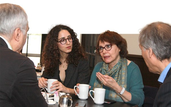 به ترتیب از راست: مشهود ناصری، دکتر هما هودفر، آماندا قهرمانی و محسن تقوی ـ تورنتو، جمعه 3 مارچ 2017 ـ عکس از سلام تورنتو