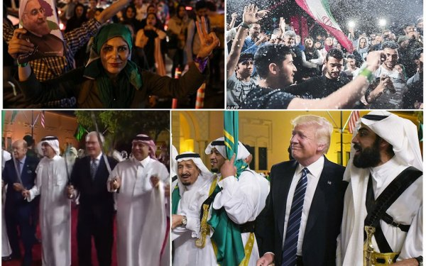 در حالی که در ایران جشن های خیابانی به مناسبت امکان رابطه بیشتر با جهان خارج و آزادی بیشتر در ایران برپا بود،  ترامپ و وزیران کابینه اش پس از عقد قرار داد تسلیحاتی صدها ملیارد دلاری، به همراه سران سعودی به رقص شمشیر مشغول بودند.