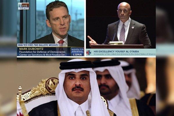 یوسف العتیبه (بالا راست) سفیر امارات متحده عربی در واشنگتن، مارک دوبویتز (سمت چپ بالا) مدیر اجرایی بنیاد دفاع از دمکراسی ها و  شیخ تمیم بن حمد آل ثانی امیر قطر