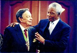 CAPTION: ICONS: Former president Nelson Mandela with Afrikaner industrialist Dr Anton Rupert. Photo: Trevor Sampson