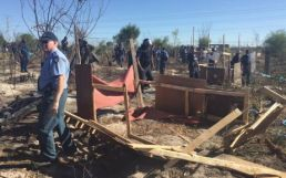 Law enforcement officials on Wednesday destroyed all the structures built by Khayelitsha residents who illegally invaded a piece of land. Picture: Thomas Holder/EWN
