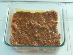 Monte a Lasagna com a carne
