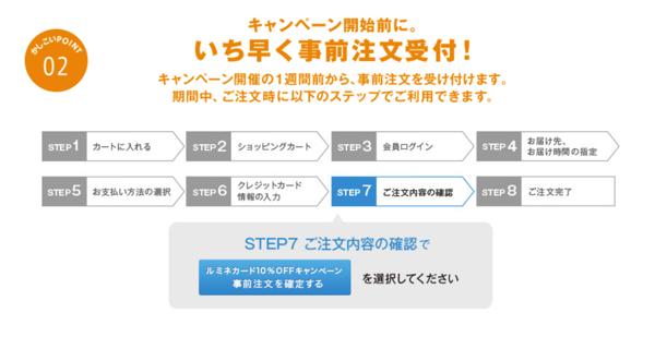 「ご注文内容の確認」画面で「ルミネ カード10%オフキャンペーン事前注文を確定する」ボタンを押す