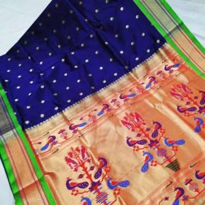 Art Silk Designer Pallu Paithani Saree – Dark Blue