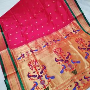 Art Silk Designer Pallu Paithani Saree – Red