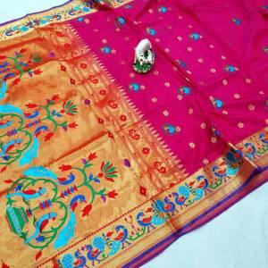 Gorgeous Brocade Semi Silk Paithani Saree