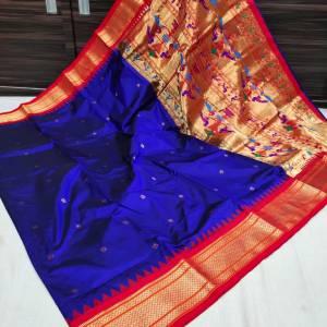 Pure Silk Kadiyal Paithani Saree (Range-3) – Navy Blue