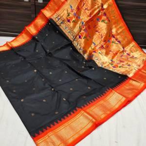 Pure Silk Kadiyal Paithani Saree (Range-2) – Black