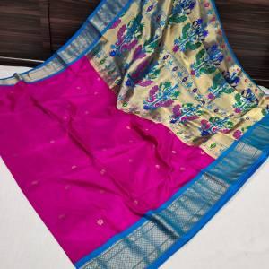 Pure Silk Kadiyal Paithani Saree (Range-3) – Dark Pink