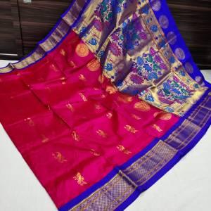 Pure Silk Kadiyal Paithani Saree (Range-3) – Rani Pink