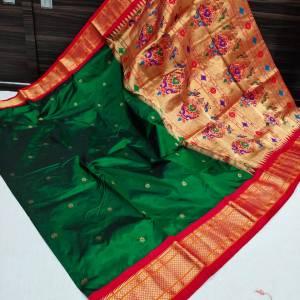 Pure Silk Kadiyal Paithani Saree (Range-4) – Dark Green