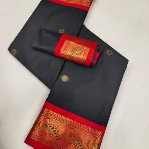 Meena Peacock Border Sico Silk Paithani Saree – Black