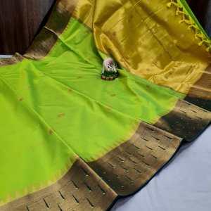 Triple Muniya Designer Sico Paithani Saree – Light Green