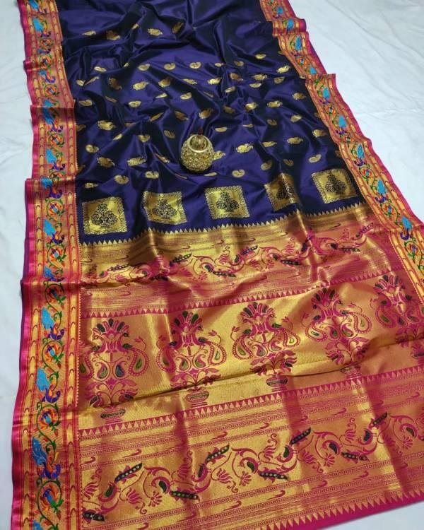 Full Work Rich Pallu Brocade Paithani Saree - Dark Blue