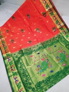 Designer Rich Pallu Brocade Paithani Saree - Apple Red