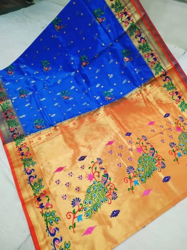 Designer Rich Pallu Brocade Paithani Saree - Navy Blue