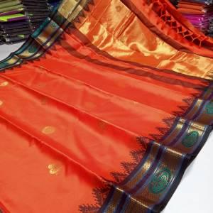 Ring Mor Golden Border Sico Silk Paithani Saree