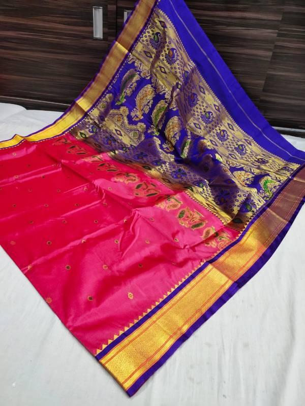 Designer Rich Pallu Semi Paithani Saree (Range-2) - Rani Pink