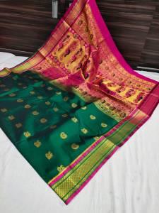 Designer Rich Pallu Semi Paithani Saree - Dark Green