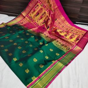 Designer Rich Pallu Semi Paithani Saree – Dark Green