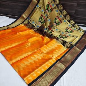 Kaju katli Designer Kadiyal Paithani Saree – Gold