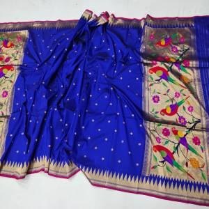 Fancy Peacock Designer Paithani Dupatta – Navy Blue