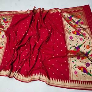 Fancy Peacock Designer Paithani Dupatta – Red