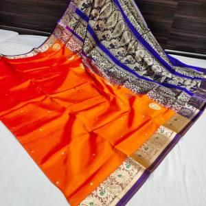 Pure Silk Peshwai Paithani Saree (Range-2) – Orange