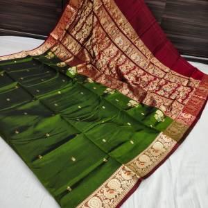 Pure Silk Peshwai Paithani Saree (Range-2) – Mehndi