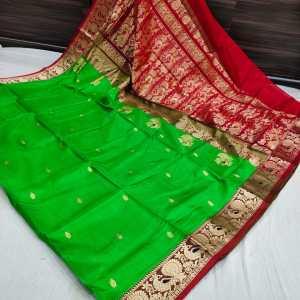 Pure Silk Peshwai Paithani Saree (Range-2) – Parrot Green