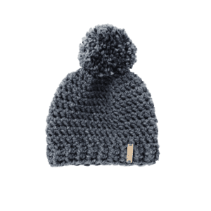 gray pompom hat