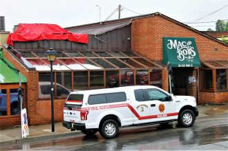 Photos by Shawn Nowlin -The fire caused significant damage to the restaurant's roof.