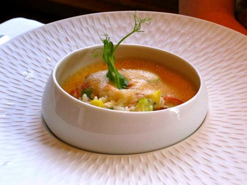 Lobster and Mushroom Risotto with Leeks.