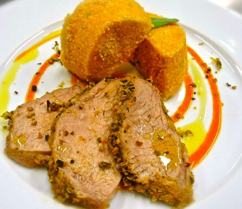 Brasied Veal with Citrus and Carrot Flan.