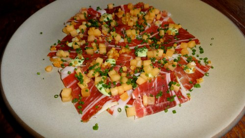 Iberico Ham, Cantaloupe, Chives.