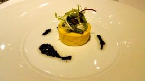 Yellow Corn Budino with Truffle Pearls.