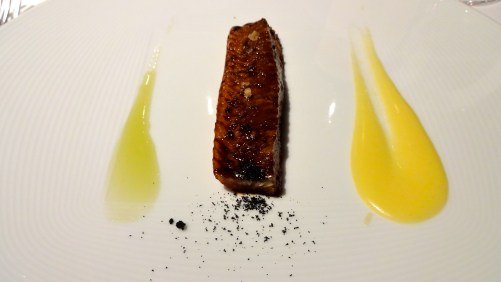 Saba Lacquered Eel with Polenta and Green Apple Sauce.